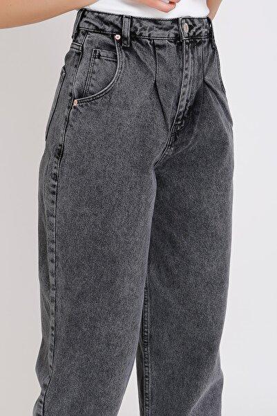 Yüksek Bel Jeans Balon Füme Kar Yıkamalı Mom 2099