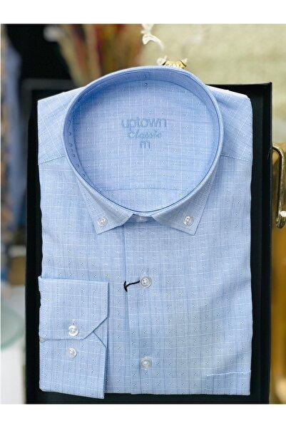 Uptown Erkek Gömlek Klasik Desenli Açık Mavi