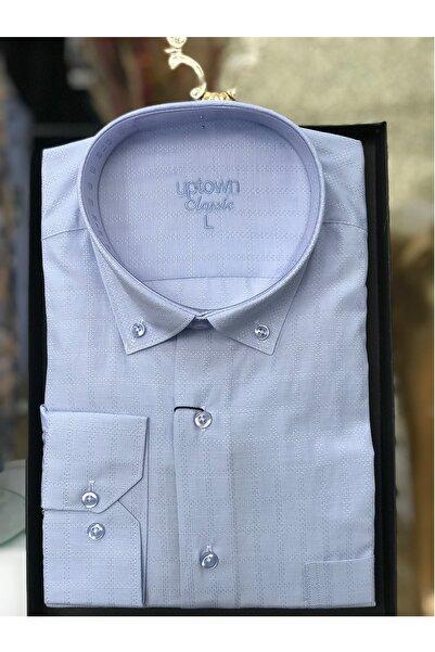 Uptown Erkek Klasik Gömlek Desenli Açık Mavi