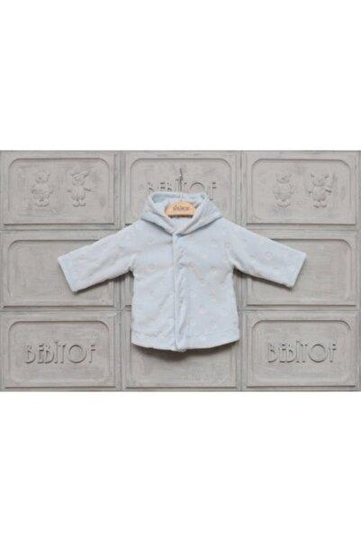 Bebitof Baby Erkek Bebek Mavi Puanlı Kapüşonlu Kadife Ceket