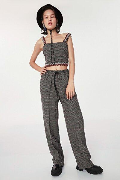 Twist Kadın Gri Kazayağı Desen Pantolon TW6200003153
