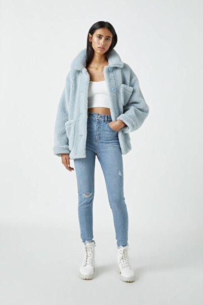 Pull & Bear Kadın Açık Mavi Yüksek Bel Skinny Fit Kapri Jean 09689301