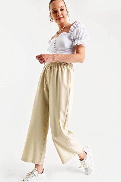 Bigdart Kadın Bej Beli Lastikli Bol Paça Pantolon