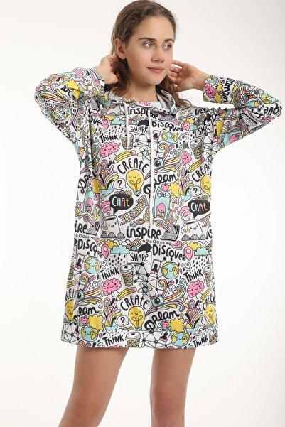 MD trend Kadın Grafik Desenli Oversize Uzun Spor Sweatshirt/turkuaz/l-xl