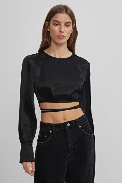 Bershka Kadın Siyah Saten Bluz