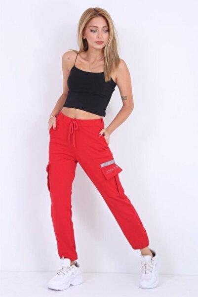 Muka Shopping Kadın Kırmızı Kargo Pantolon