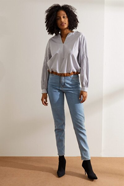 Setre Kadın Siyah Beyaz V Yaka Çizgili Bluz