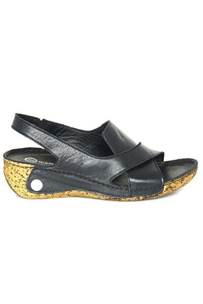 Mammamia Kadın Siyah Comfort Deri Sandalet