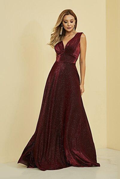 Sateen Kadın Kırmızı Drapeli Kolsuz Uzun Abiye Elbise