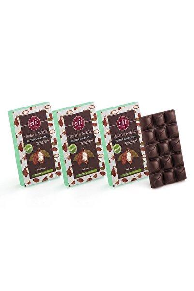 Elit Çikolata Şeker İlavesiz ve Prebiyotik Bitter Çikolata 60g  3'lü Set