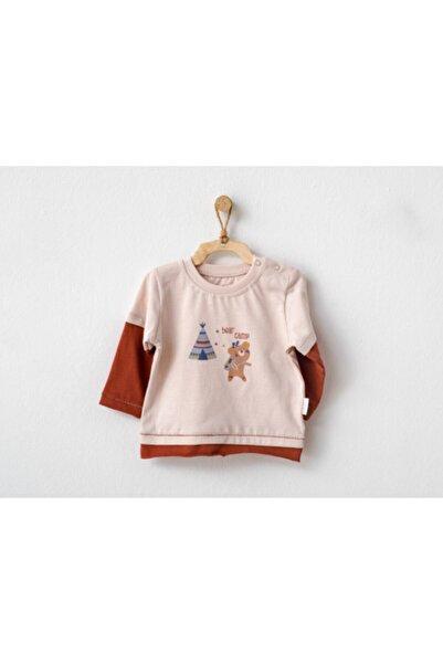 andywawa Unisex Bebek Ekru Tişört Ayıcıklı Kamp