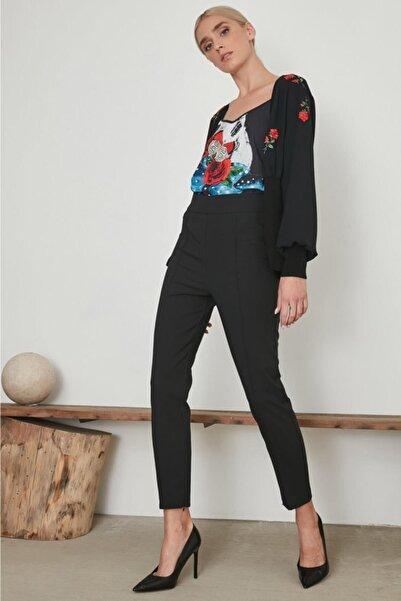 Say Kadın Siyah Paçası Fermuarlı Önden Dikişli Pantolon