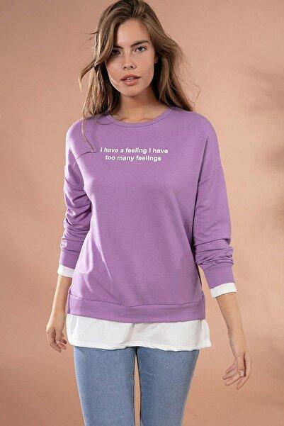 Y-London Kadın Lila Yazı Baskılı Tişört Detaylı Sweatshirt Y20W175-9358