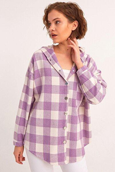 Fulla Moda Kadın Lila  Kapüşonlu Oduncu Gömlek