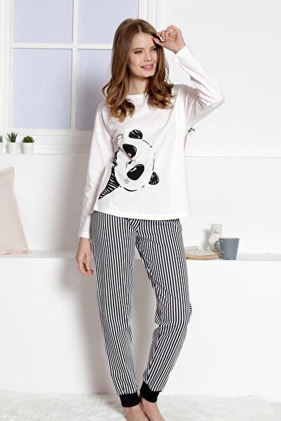 VİENETTA Kadın Beyaz Uzun Kol Pamuklu Pijama Takım