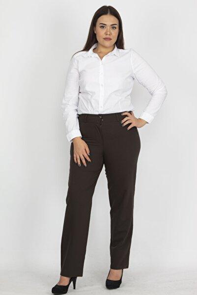 Şans Kadın Kahve Saten Kumaş Cep Detaylı Klasik Pantolon 65N19364