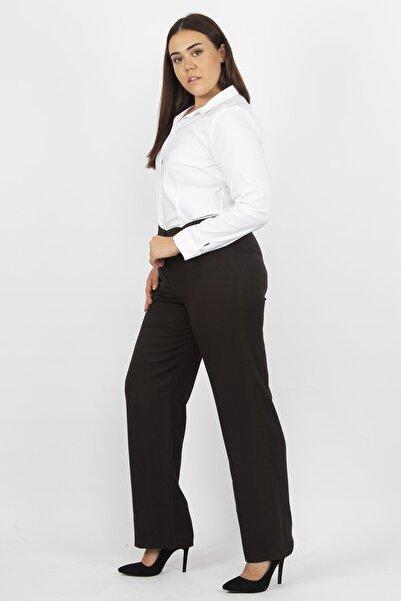 Şans Kadın Kahve Klasik Kumaş Pantolon 65N19365