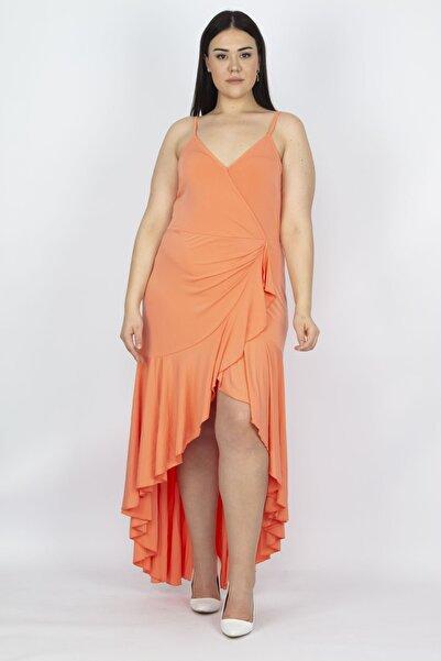 Şans Kadın Turuncu Sırt Dekolteli Volan Detaylı Anvelop Yaka Elbise 65N19185