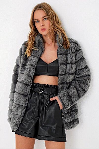 Trend Alaçatı Stili Kadın Antrasit Peluş Suni Kürk Ceket ALC-X3037