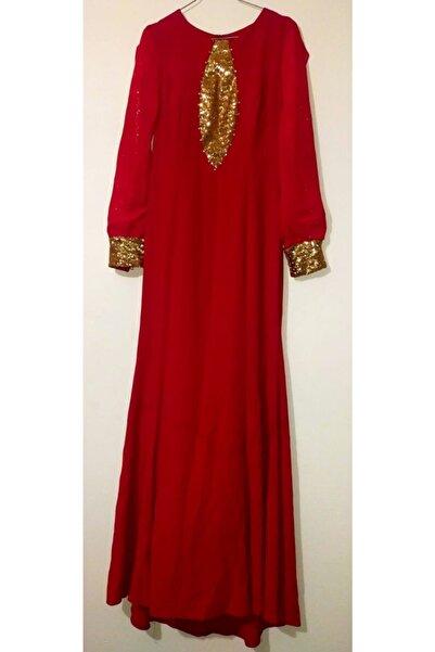 Loreen Kadın Kırmızı Renk Sarı Pullu Dantel Detaylı Tesettür Abiye Elbise