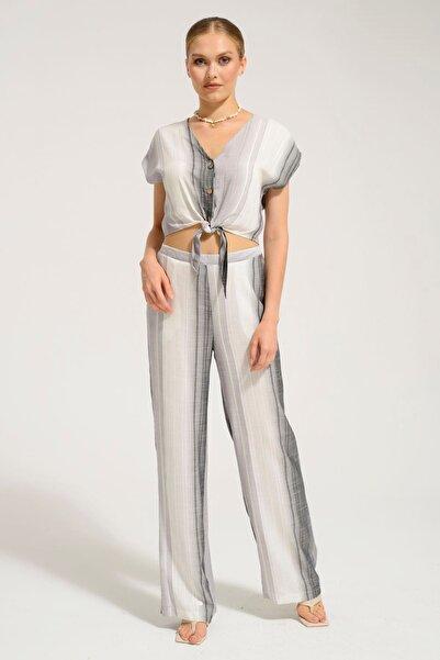 Batik Kadın Siyah Çizgili Pantolon