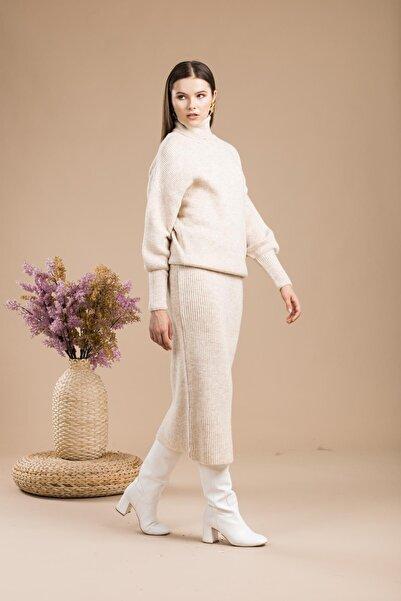 sarıbalon Kadın Taş Rengi Triko Kazak Etek Takım