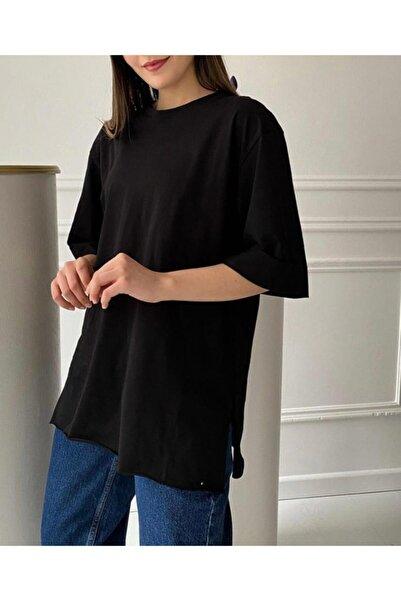 NİCE Siyah Oversize Duble Kol Pamuklu Basic T-shirt