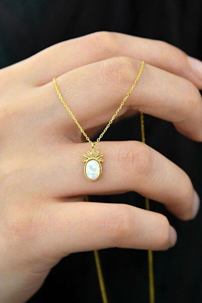Papatya Silver Kadın 925 Ayar Gümüş Gold Kaplama Beyaz Opal Taşlı Ananas Kolye