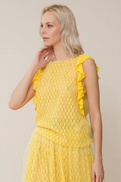 GIZIA CASUAL Tül Detaylı Sarı Bluz