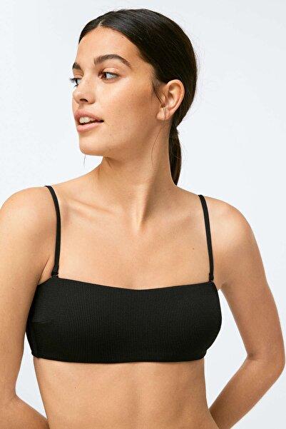 Oysho Kadın Siyah Fitilli Straplez Bikini Üstü