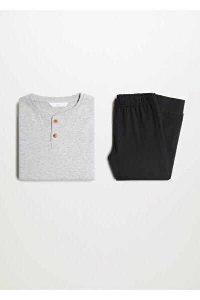 MANGO Kids Erkek Çocuk Gri Uzun Koton Pijama Takımı