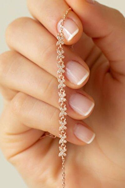 Kadın Pembe Kelebek Gümüş Bileklik