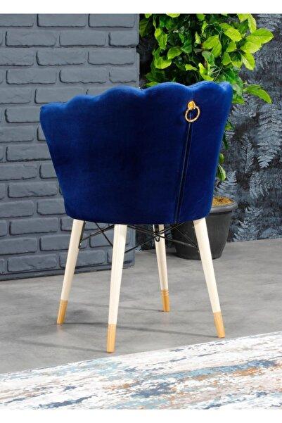 AYSU Sandalye Papatya Tekli Mavi Berjer Altın Kulplu