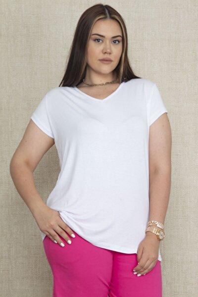 Şans Kadın Beyaz V Yakali Oversize Basic Tişört 65N22128