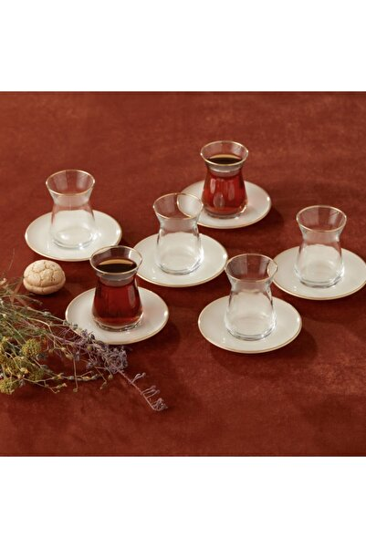 Karaca Retro Bej 6 Kişilik Çay Seti