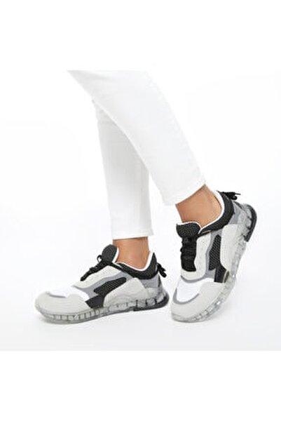 20S-550 Gri Kadın Kalın Taban Sneaker Spor Ayakkabı 100517489