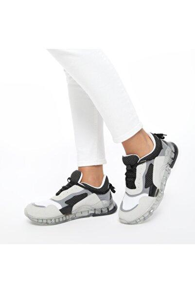 Butigo 20s-550 Gri Kadın Kalın Taban Sneaker Spor Ayakkabı