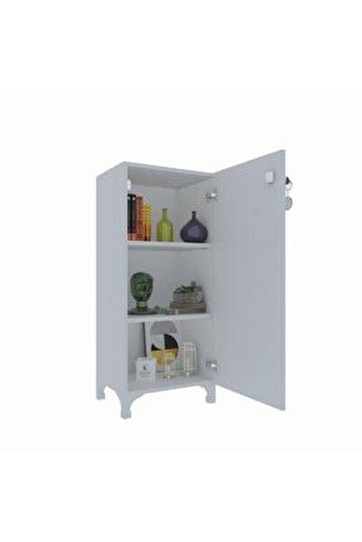 Mutfak Dolabı Zehra 088*030*032 cm Beyaz Kilitli Ayaklı Banyo Evrak Ofis Ayakkabılık Kiler