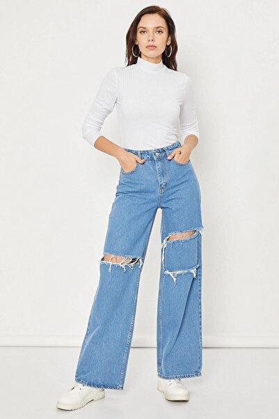 Arma Life Kadın  Orta Mavi Yırtık Dökümlü Mom Pantolon