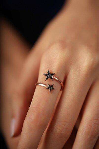 İzla Design Çift Yıldız Model Siyah Zirkon Taşlı Rose Kaplama Gümüş Yüzük