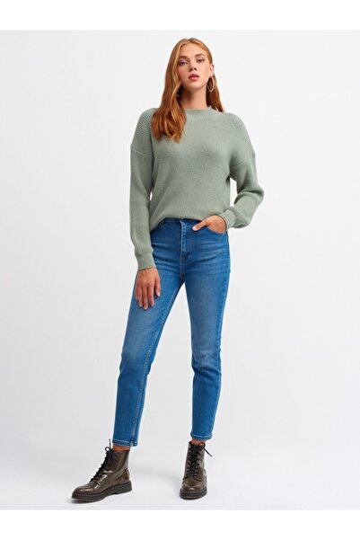 Dilvin Kadın Lacivert Cepli Mom Pantolon