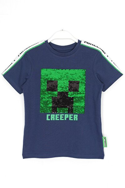 MINECRAFT Çocuk Minecraft Creeper T-shirt Lacivert