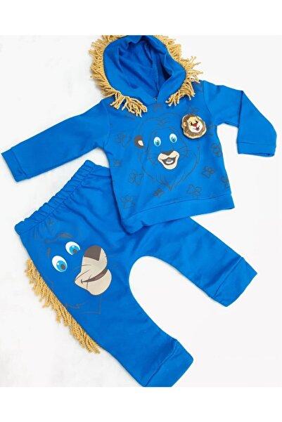 Sönmez Baby Unisex Bebek Mavi Ormanın Kralı Aslan Kapüşonlu  İkili Penye  Takımı