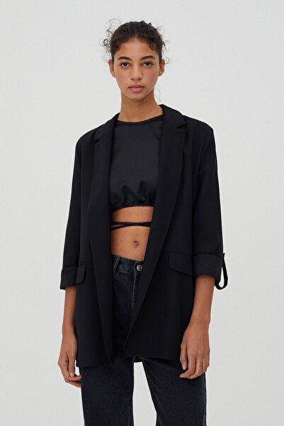 Pull & Bear Kadın Siyah Kıvrık Kollu Basic Blazer Ceket