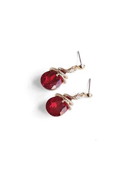 Marjin Kadın Kırmızı Renkli Damla Taşlı Yılan Figürlü Altın Renkli Küpekırmızı