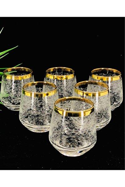 LAV Lal 304 6'lı Altın Yaldızlı Sarmaşık Kahve Yanı (likör) Bardağı