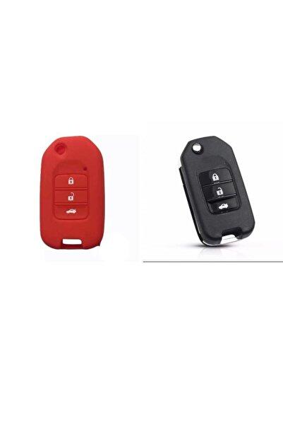 Honda Civic Fc5 Crv Hrv Sustalı Silikon Anahtar Kılıfı 1 Adet Kırmızı Renk