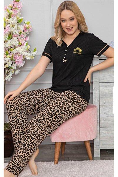 Meba Kadın  Altın  Likralı Kaşkorse Pijama Takımı  5520-4