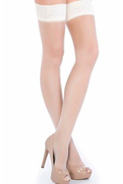 Kadın Vanilya  Burnu Şeffaf Dantelli Silikonlu Fantezi Jartiyer Çorap