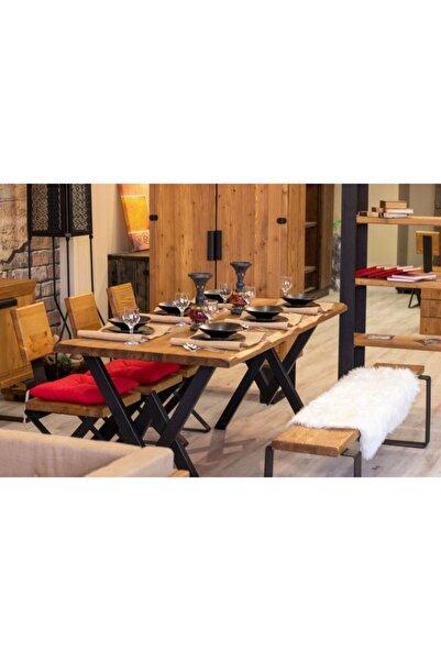 NT Concept Ntconcept Masif Ağaç Yemek Masası Takımı- 60cm-120cm Masa+120cm Bank+2 Adet Loft Sandalye